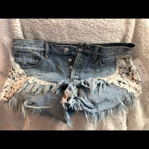FREE PEOPLE NWT DENIM SHORTS SZ 27 button front